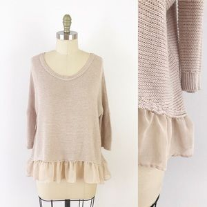 AEO Pink Knit Ruffle Hem 3/4 Sleeve Sweater K551
